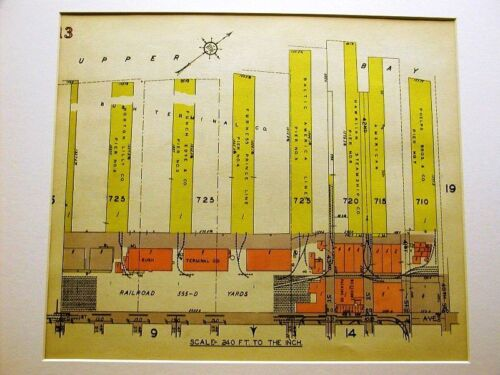 BROOKLYN MAP 1929 SUNSET PARK PIERS DOCKS Matted