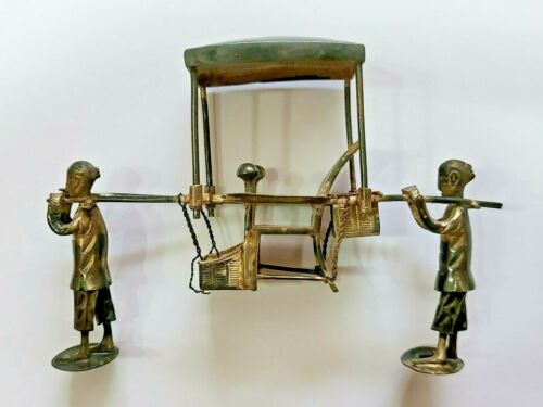 👍 CHINA MINIATURE SOLID SILVER PORTERS CARRYING SEDAN CHAIR WITH HALLMARK 纯银