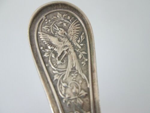 AESTHETIC - BIRD 1872 - JOHN WENDT - STERLING -  7 in OVAL SOUP SPOON old patina