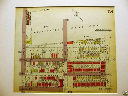 Brooklyn Map 1929 BORO PARK 19-21st WASHINGTON CEMETERY Matted