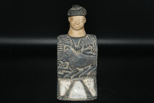 Ancient Bactrian Stone Idol Figurine of Goddess with Multiple Marble stone Inlay