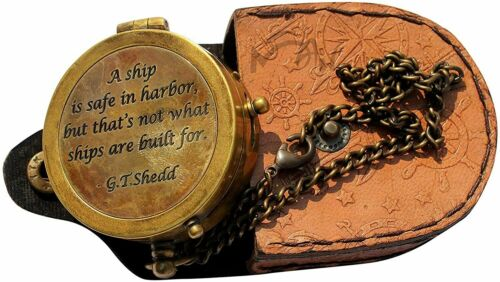 """A Ship is Safe in Harbor """", Camping Compass Engraved with Leather Case Gift"""