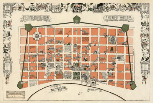 Early Mid-century New Orleans Map la Nouvelle Vintage History Wall Poster 11x16