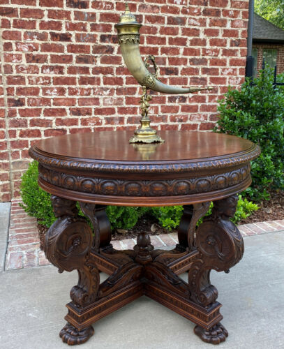 Antique French ROUND Table Entry Center Parlor Table Renaissance Revival 19th C