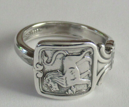 Sterling Silver Spoon Ring - 1926 Tiffany / Zodiac / Leo - FREE 1 DAY SHIPPING