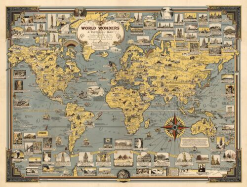 "Pictorial Map World Wonders History Home Schooling Wall Art Poster Print 11""x14"""
