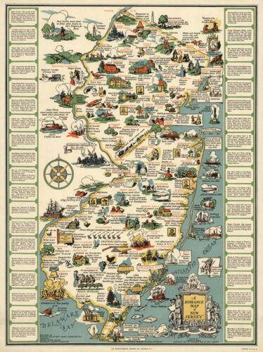"1935 Pictorial Historical Map New Jersey 11""x14"" Wall Art Poster Print Genealogy"