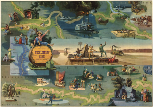 Pictorial Map of The Adventures of Huckleberry Finn 11x16 Art Poster Mark Twain