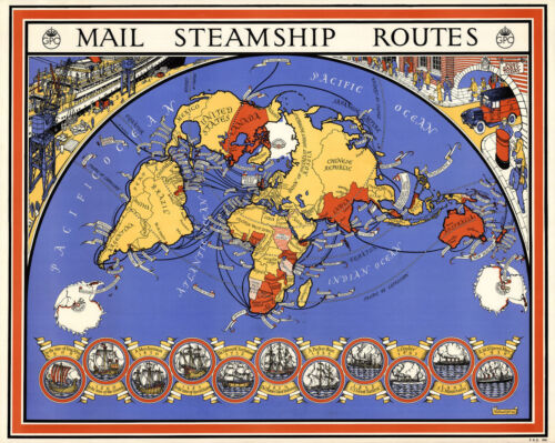 Mid-century World Map Mail Steamship Routes Postal Maritime 11x14 Home School