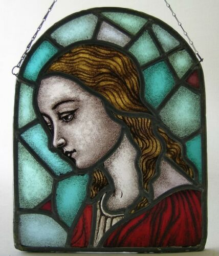 Antique stained glass Church window Virgin Mary