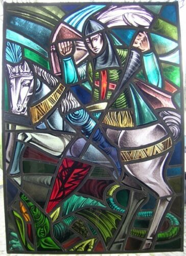 Antique stained glass Church window Saint George with the dragon