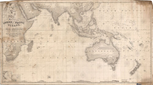 "1870 Chart of the Indian and Part of the Pacific Oceans Map Wall Poster 9""x16"""