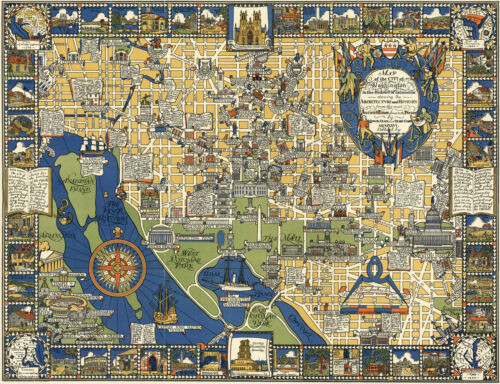 "1926 Pictorial Map Washington D.C. Architecture History 11""x14"" Wall Art Poster"