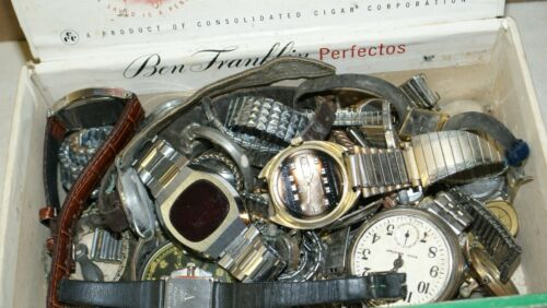 Junk drawer lot of vintage watch parts and band