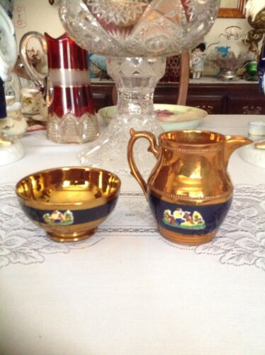 ANTIQUE COPPER LUSTER  BOWL AND PITCHER