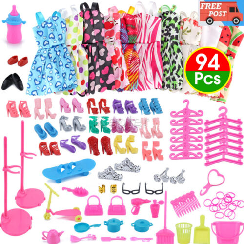 94Pcs for Barbie Doll Clothes Accessories Huge Lot Party Gown Outfits Girl Gift