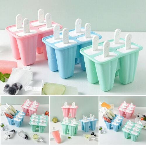Silicone Ice Cream Mould Block 4/6 Cavity Frozen Molds Icy Pole Jelly Popsicle
