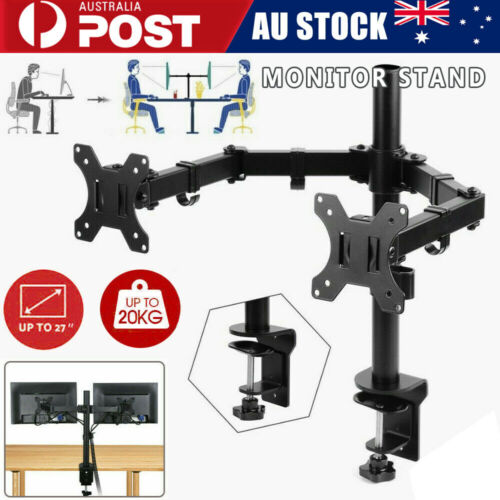 Desk Mount Monitor Stand 2 Arm Dual HD LED Display Bracket LCD Screen TV Holderp