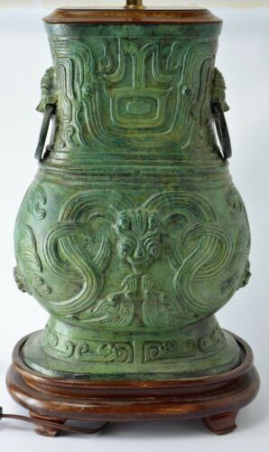 RARE ANTIQUE GREEN BRONZE VASE TABLE LAMP OLD & HEAVY CHINESE ART