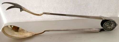 """RARE EARLY GORHAM MEDALLION STERLING 11 3/8""""  FRIED CHICKEN TONGS C. 1865"""
