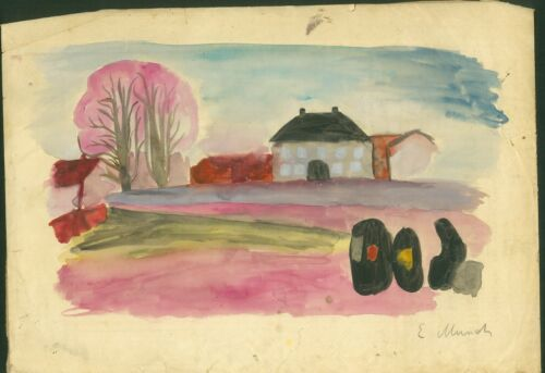 EDVARD MUNCH - ink watercolor on original paper of the 19th century-