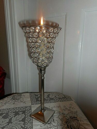 Antique style glass prism candle holder