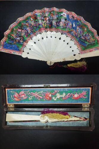 👍 1900s RARE CHINA CHINESE CANTON HUNDRED FACES FAN WITH BEAUTIFUL BOX 出洋古董扇