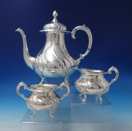 Norwegian .830 Silver Tea Set 3-Piece with Leaves and Berries Motif (#5149)