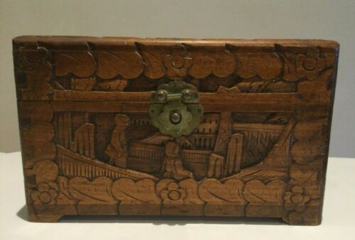 VINTAGE CHINESE CARVED CAMPHOR TIMBER JEWELLERY BOX , WOODEN TEA CHEST