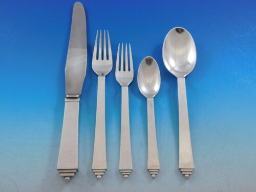 Pyramid by Georg Jensen Sterling Silver Flatware Set 6 Service 30 pieces Dinner