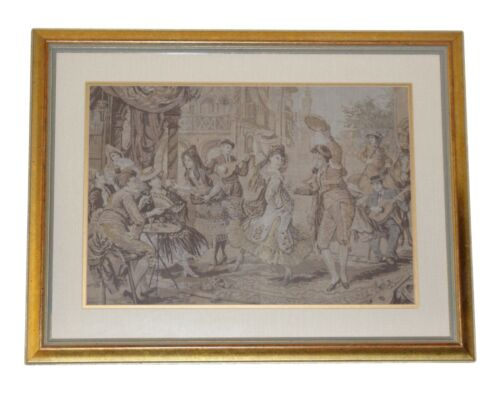 """Antique Victorian Tapestry European Aubusson Style Framed Matted Wall 23"""" x 18"""""""