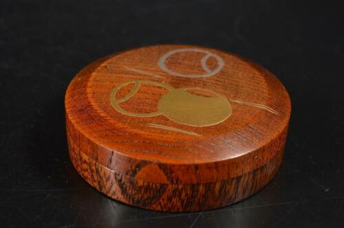 U5977: Japanese Wooden jewel Pine gold lacquer pattern INCENSE CONTAINER