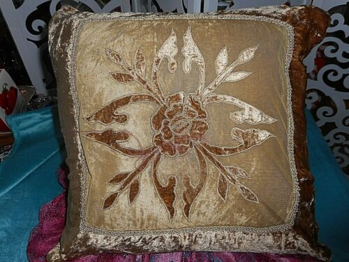 Antique embroidered and appliqued cushion