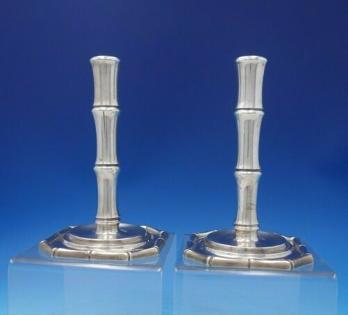 """Bamboo by Tiffany and Co Sterling Silver Candlestick Pair #23885 7"""" x 4"""" (#5239)"""