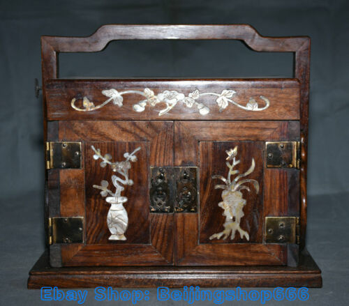 """10.8"""" Old Chinese Huanghuali Wood Inlay Shell Carving Flowers Portable Cabinet"""