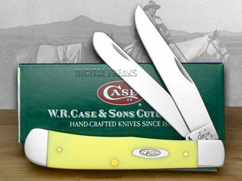 Case xx Trapper Knife Smooth Yellow Delrin Handle Stainless Pocket Knives 80161