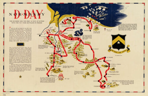Map D-day Normandy France 743rd Tank Battalion 11x16 History Wall Poster Print