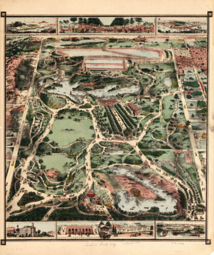 """1860 Pictorial Map of Central Park NY New York Wall Poster Decor 11""""x14"""" Antique"""