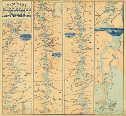 1863 Civil War Military Map 11x12 Mississippi Valley River Panorama Poster Print