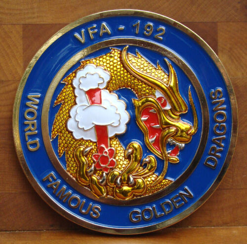 """VFA-192 World Famous Golden Dragons F-18 Squadron Challenge Coin """"SSHWFGD"""" 3D 3"""""""