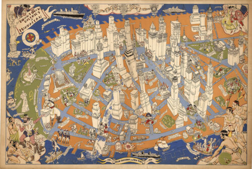 1938 Pictorial Map Downtown district of Manhattan New York Wall Art Poster 11x16