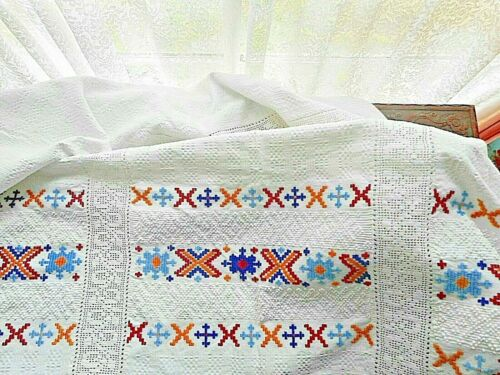 Outstanding antique hand loomed embroidered cloth.