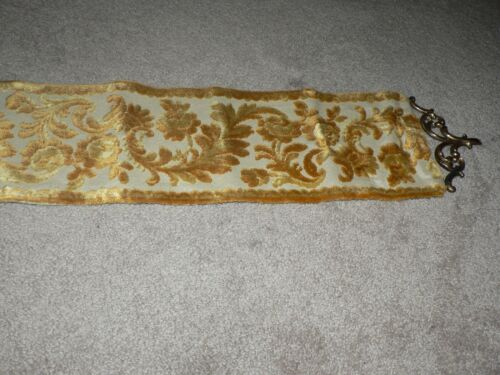 Antique Vintage Gold Belgium tapestry with Brass decorative ends