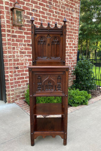 Antique French Cabinet Cupboard Pedestal Bookcase Bar Gothic Revival  Petite