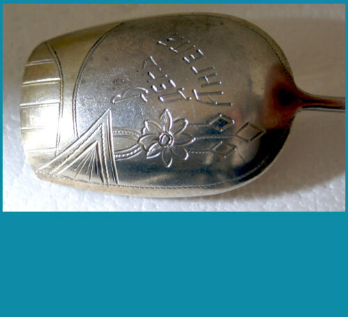 RUSSIAN 84 silver PRESERVE Spoon, inscription says: On the BAPTISM DAY