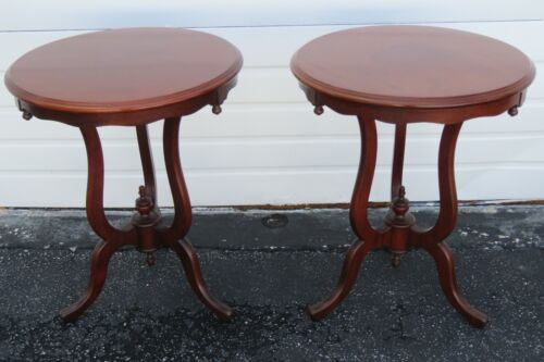 Solid Mahogany Pair of Round Side End Tables 2282