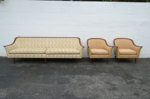 Mid Century Modern Set of Sofa Couch and Pair of Chairs 2328