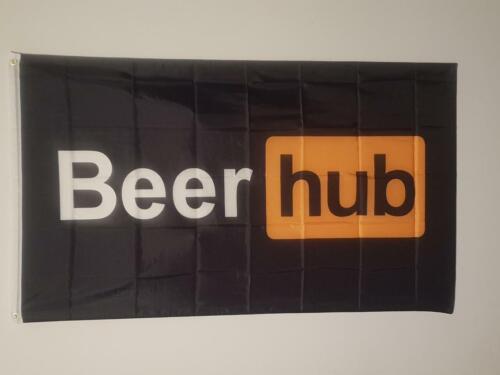 Quality Beer Hub Flag 150 x 90cm Banner for the Man Cave Porn hub style logo