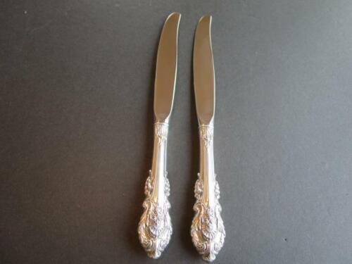 """WALLACE SIR CHRISTOPHER STERLING SILVER FLATWARE 2 DINNER KNIVES 9 1/8""""MINT*****"""