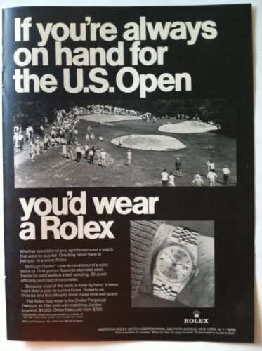 1969 ROLEX ad - IF YOU WERE ON HAND US OPEN .. OYSTER CHRONOMETER DATEJUST